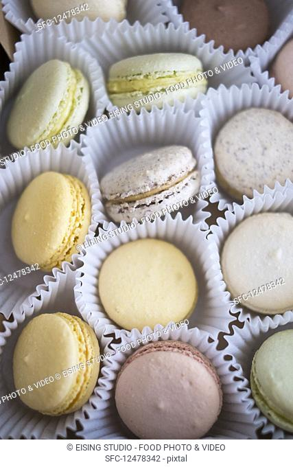 Various French macarons in paper cups