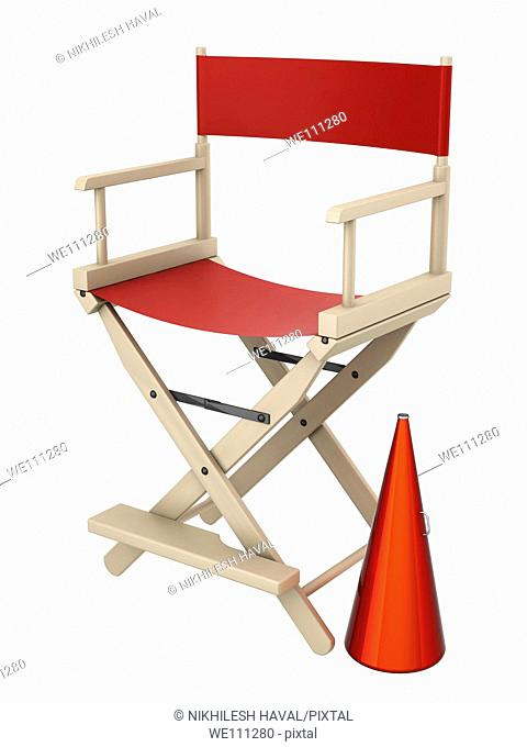 Red Director chair megaphone