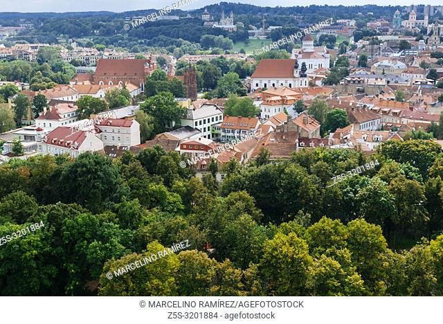 View of the old Vilnius from Gediminas Tower. Vilnius, Vilnius County, Lithuania, Baltic states, Europe