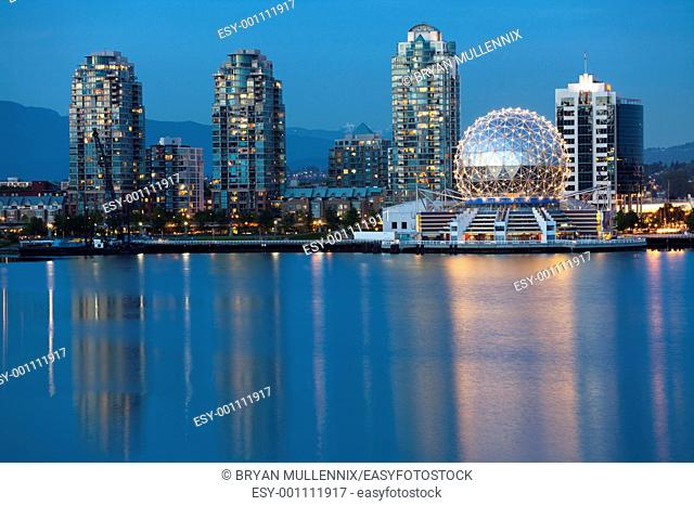 Vancouver B C , Canada Skyline at night along the waterfront