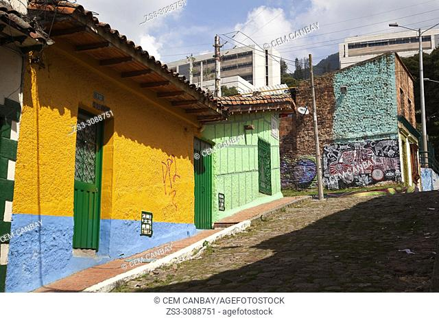 Street scene with colorful houses from the historic center La Candelaria, Bogota, Cundinamarca, Colombia, South America