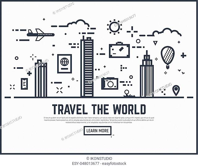 Travel the world illustration vector concept. Thin line style travel banner for web page or tour organization. City scene with huge buildings and skyscrapers