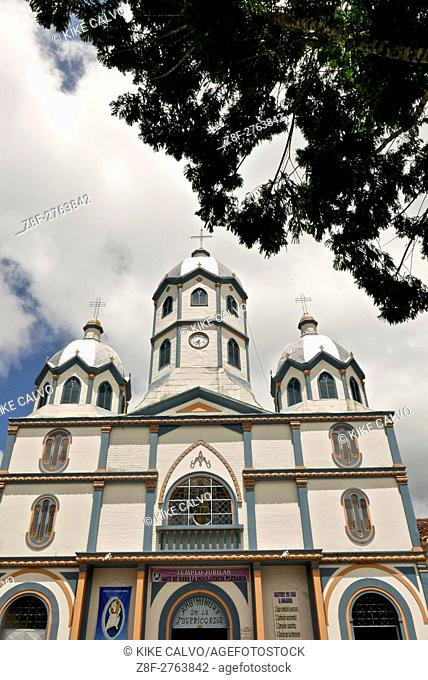"""Church Parroquia Inmaculada Concepcion. The town of Filandia, currently known as """"""""La Colina Iluminada de los Andes"""""""" (""""""""The Illuminated Hill of the Andes"""""""")"""