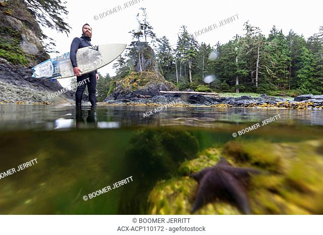 A surfer in his watery element looks to the surf break amidst a low tidal pool, Spring Island near Kyuquot, Vancouver Island, British Columbia, Canada