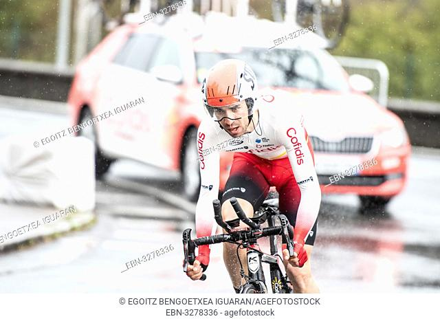 Nicolas Edet at Zumarraga, at the first stage of Itzulia, Basque Country Tour. Cycling Time Trial race