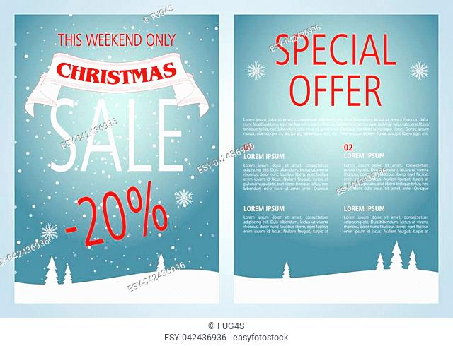 Vector christmas sale flyer design with light blue color