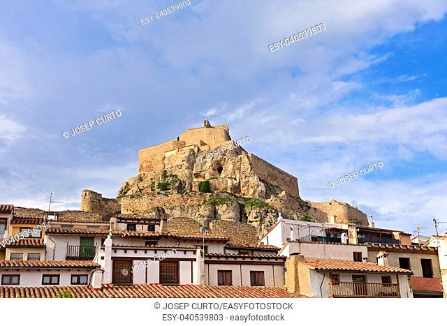 castle and house Morella, Castellon province, Spain
