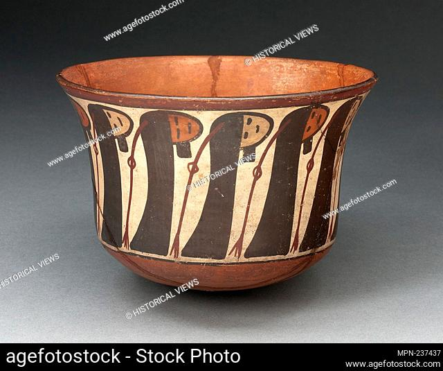 Small Bowl Depicting a Row of Abstract Trophy Heads - 180 B.C./A.D. 500 - Nazca South coast, Peru - Artist: Nazca, Origin: Peru, Date: 180 BC-500 AD