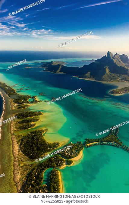 Aerial view showing the coral reef and the lagoon, Bora Bora, French Polynesia