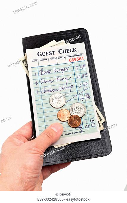 Guest Check and dollar, concept of restaurant expense