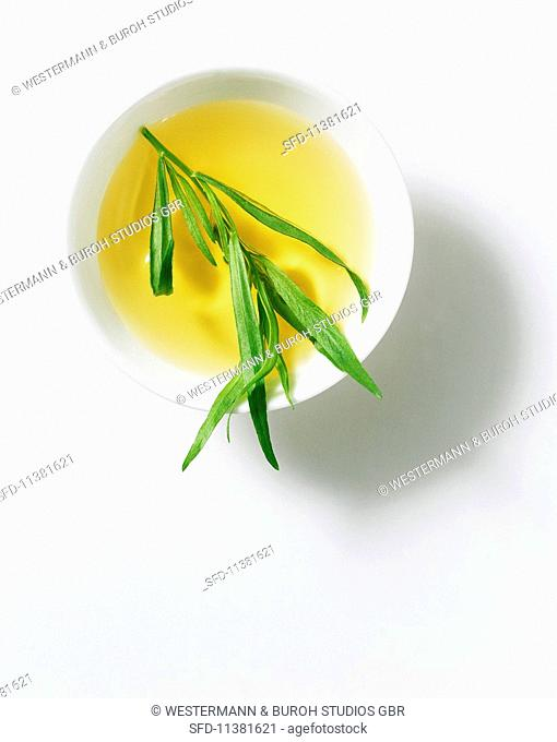 A bowl of tarragon vinegar