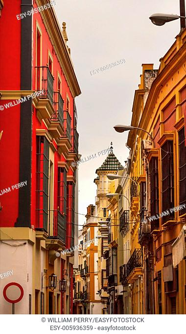Narrow Streets of Seville, Street Lamp Cityscape, City View Andalusia Spain