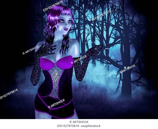 Illustration of a goth girl in the night haunted forest