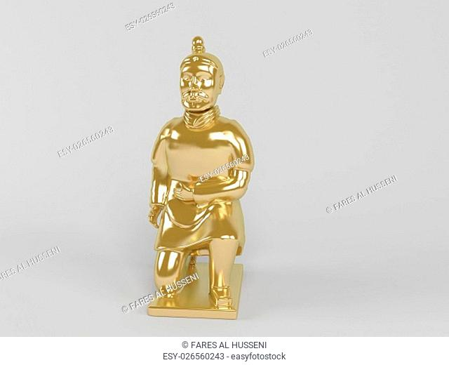 3d rendering of a golden statue painted with gold in on a white scene background