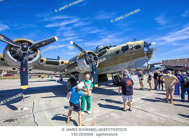 B-17 Flying Fortress bomber at Wings of FreedomTour of historic vintage WWII war planes at Venice Airport in Venice Florida