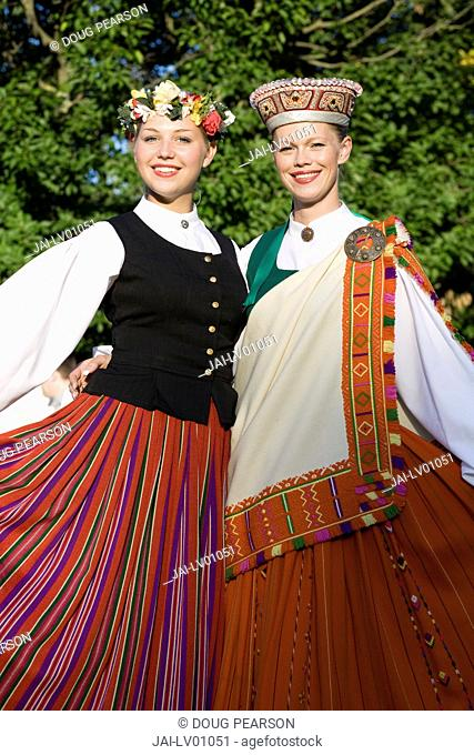 Young Women in Traditional Folk Dress, Riga, Latvia, MR