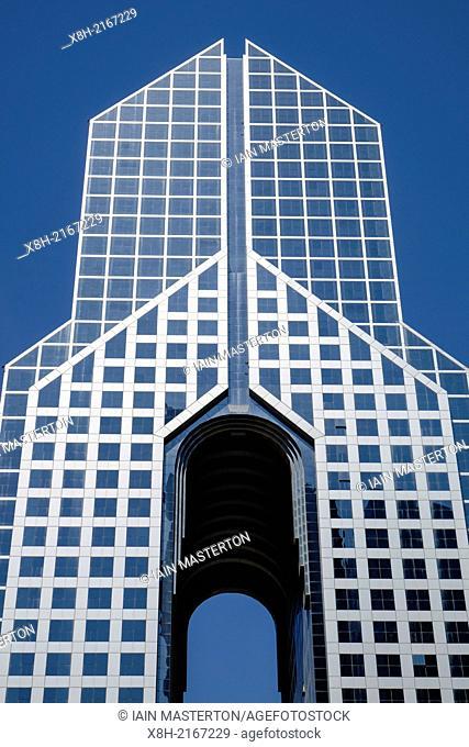 Exterior of modern Dusit Thani hotel on Sheikh Zayed Road in Dubai United Arab Emirates