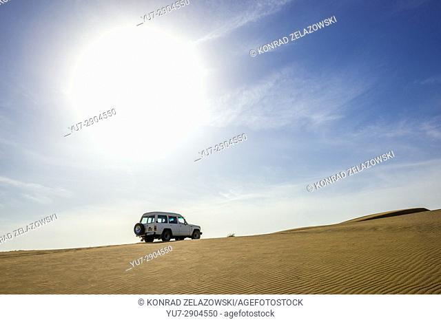 4x4 car on Maranjab Desert located in Aran va bidgol County in Iran
