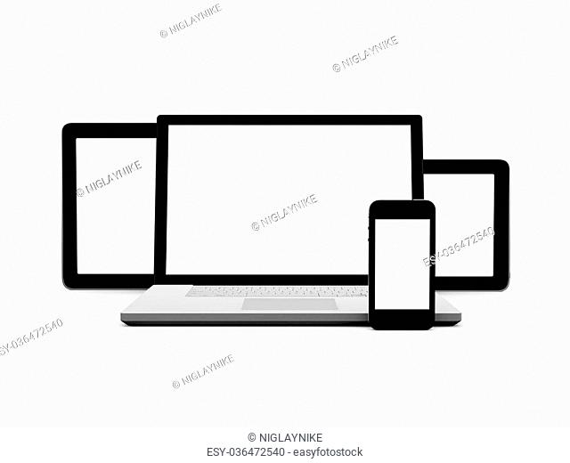 Realistic and modern tablets, laptop and mobile phone with blank screen, isolated on white background
