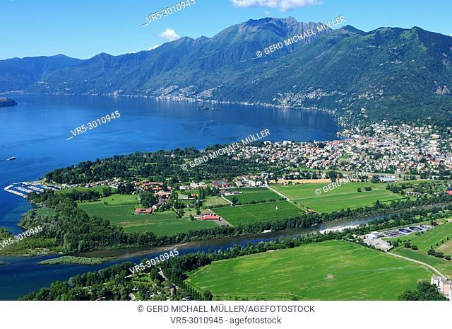"South-Switzerland: Paragliding above Lake """"Maggiore"""" Delta viewing Ascona-City"