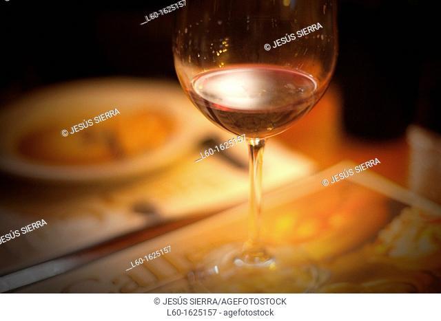 Red wine in Restaurant, Pontevedra, Galicia, Spain