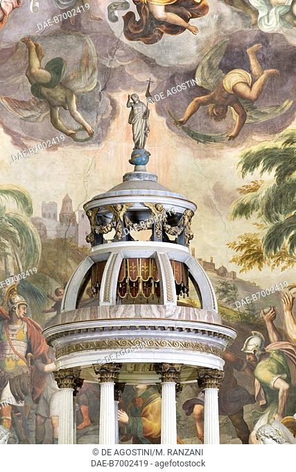 High altar, small cupola, 1806, designed by Leopoldo Pollack (1751-1806), presbytery of the Collegiate church of St Stephen, Vimercate, Lombardy, Italy