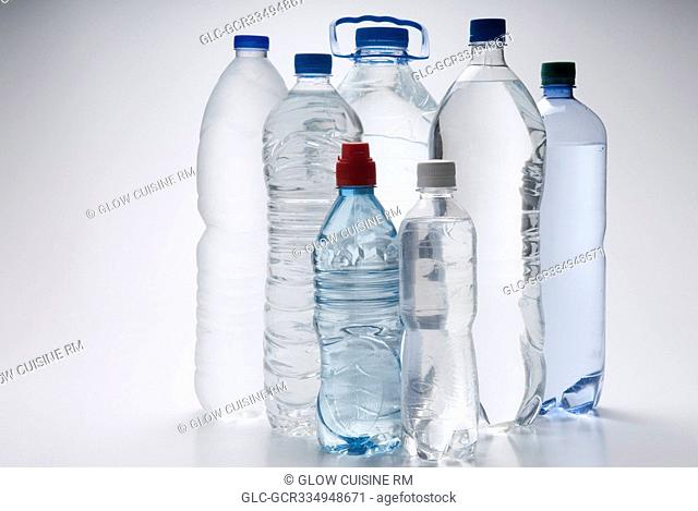 Assorted bottles of water