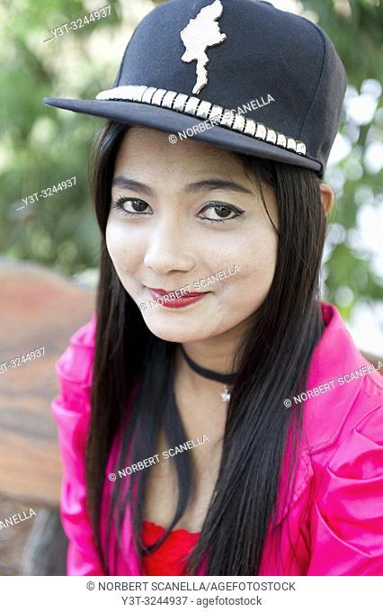 Myanmar (formerly Burma). Kayin State (Karen State). Hpa An. Portrait of a young burmese