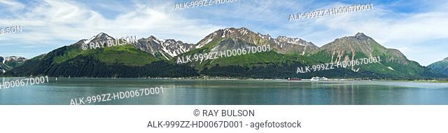 Composite panorama of Resurrection Bay, Seward, and Mount Marathon and the Kenai Mountains on the Kenai Peninsula in Southcentral Alaska. Summer