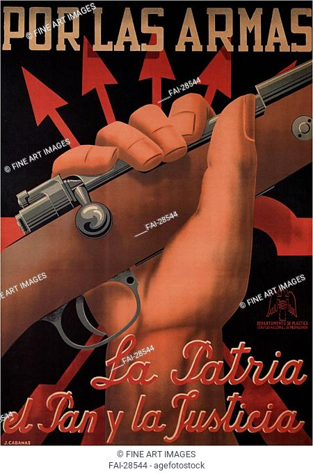 For weapons, the country, bread and justice by Cabanas Erausquin, Juan (1907-1979)/Colour lithograph/Social and political posters/1938/Spain/Private...