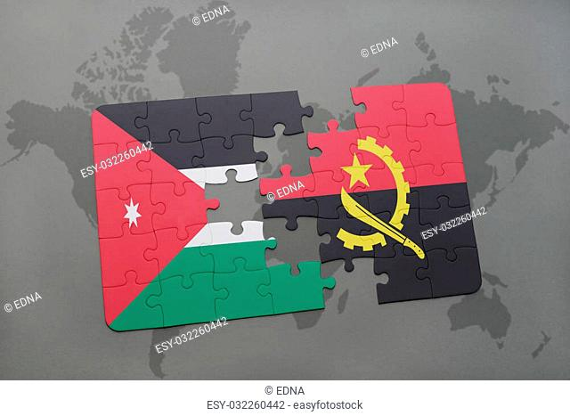 puzzle with the national flag of jordan and angola on a world map background. 3D illustration