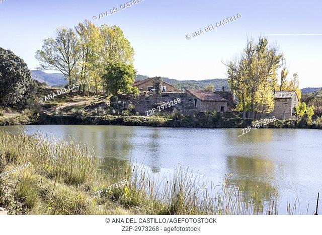 Autumn country and old pond in Mora de Rubielos Teruel, Aragon, Spain