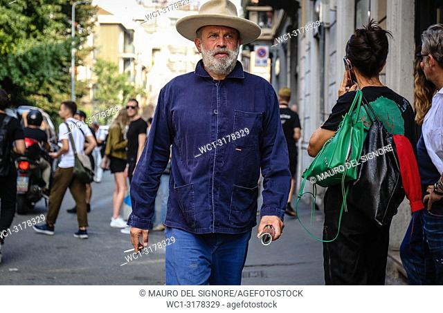 MILAN, Italy- September 19 2018: Robert Rabensteiner on the street during the Milan Fashion Week