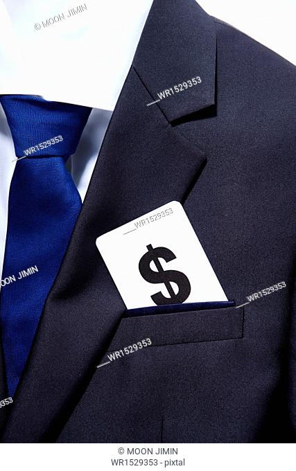 a suit with a dollar card in the pocket