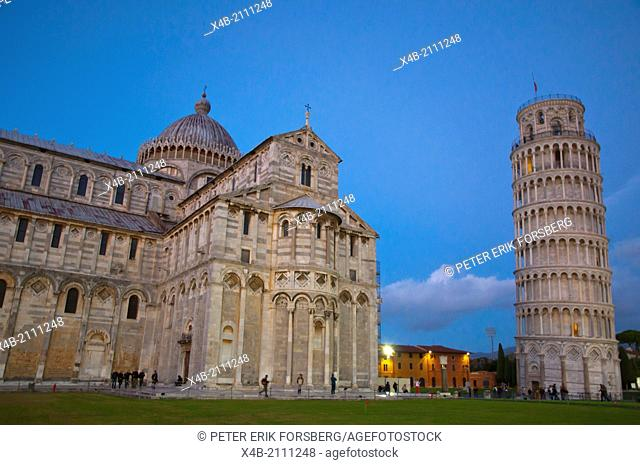 Duomo the cathedral and leaning tower at Campo dei Miracoli the field of miracles Pisa city Tuscany region Italy Europe