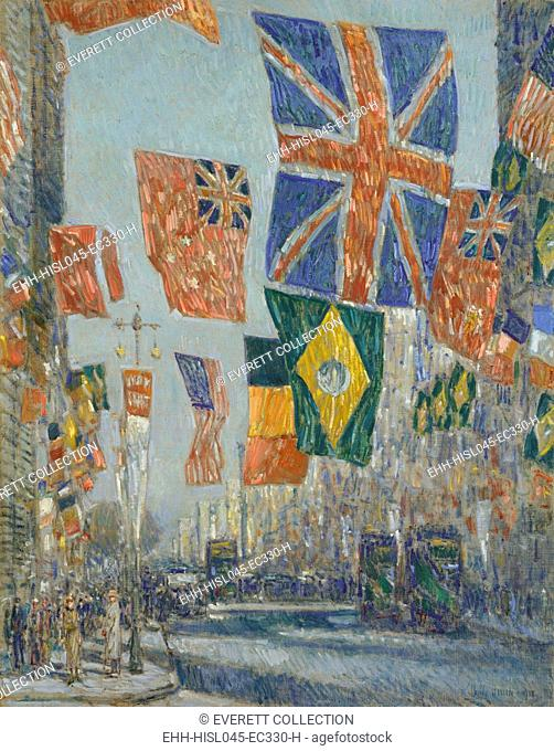AVENUE OF THE ALLIES, GREAT BRITAIN, by Childe Hassam, 1918, American painting, oil on canvas. Manhattan's Fifth Avenue decorated with patriotic emblems in 1918...