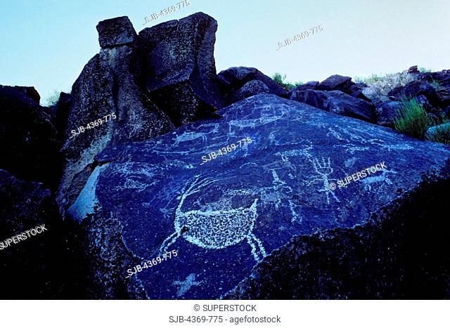 Deer, sheep, and shaman petroglyphs, in the Coso Mountains', Site Iny-7 in Big Petroglyph Canyon, one of the most spectacular concentrations of rock art in...