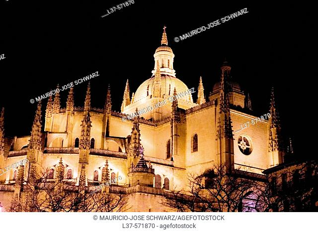 The cathedral of Segovia at night