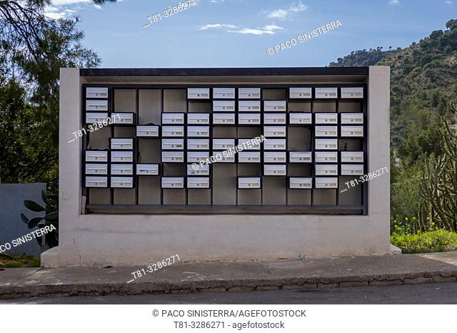 Mailboxes in a residential area. Sagunto, Valencia province, Valencian Community, Spain