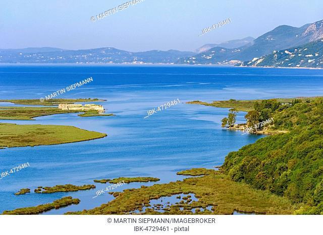Ali Pasha fortress, mouth of the Vivar Canal, behind Corfu, Butrint National Park, at Saranda, Sarandë, Ionian Sea, Qark Vlora, Albania
