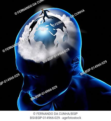 Conceptual image of the brain. In search of adventure, learning, vision of the world