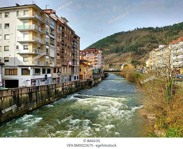 Infiesto village and Piloña river, Piloña municipality, Asturias, Spain