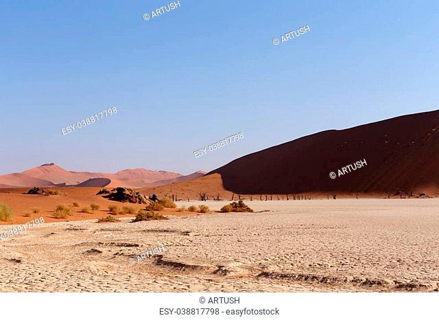 beautiful sunrise landscape of hidden Dead Vlei in Namib, blue sky, best place of Namibia
