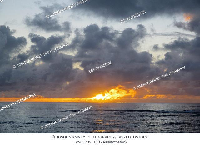 Sunrise over Bathtub Beach in the small town of Laie on Oahu Hawaii. Beautiful colors at dawn