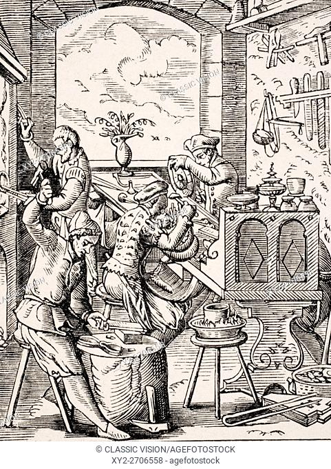 Goldsmith. 19th century reproduction of 16th century woodcut by Jost Amman