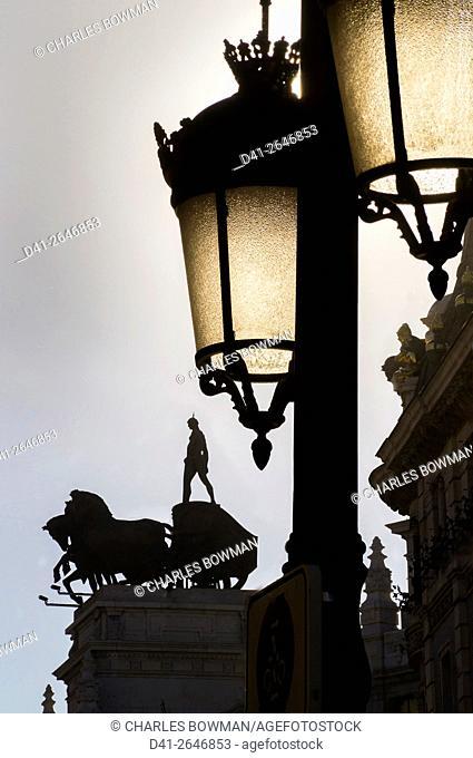 Europe, Spain, Madrid, Calle de Alcala, Banco Bilbao Vizcaya chariot