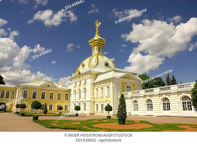 Russia. Petrodvorets. Peterhof Palace. Peter the Great's summer palace. Grand Palace
