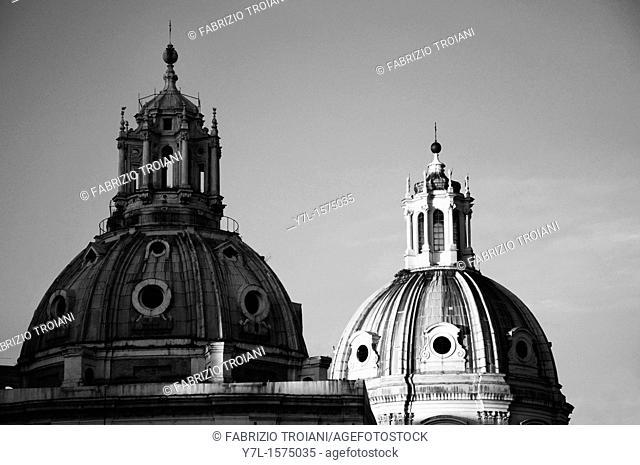 The twin domes of S  Maria di Loreto and SS  Nome di Maria, Rome Italy