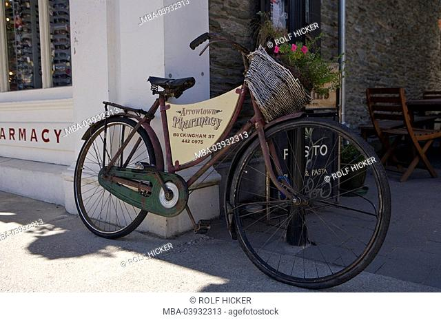 New Zealand, South-island, Central Otago, Arrowtown, old town, pharmacy, detail, bicycle, old, destination, tourism, sight, city, district, lean, leans, basket