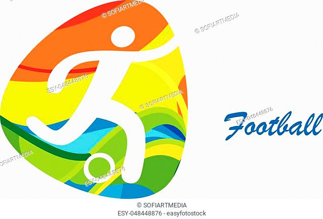 Soccer player with soccer ball icon, Olympic Games, Brazil, Rio, Sports Football banner abstract vector illustration